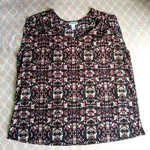 Pure Energy Pink and Black Floral Top Plus Size 2X